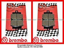 07021 2Kit Pasticche Freno Brembo Ant + Post Aprilia Leonardo 125/150 dal 1999