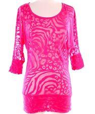 Ladies Animal Print Burnout Top T-Shirt NEW Ambiance Apparel