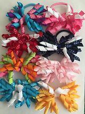 """Handmade 3.5"""" Polka Dot Korker Spring/Party/Sch Ponytail Bow Hair Elastic Bobble"""