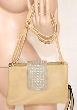 BORSELLO donna BEIGE TAUPE mini borsa pelle borsetta ecopelle pochette bag 800B