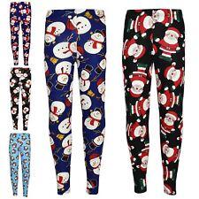 Kids Girls Christmas Leggings Santa Snowman Penguin Print Xmas Fashion Legging