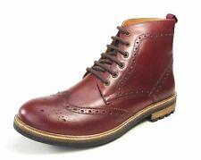 Frank James Hackney véritable cuir Brogue à lacets Bottes rouge foncé