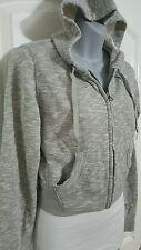 Girl's Juniors Hooded Lightweight Jacket Zip Front Joe Boxer Gray Size S M L XL