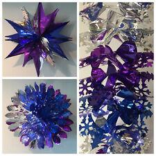 LARGE CHRISTMAS FESTIVE HANGING CEILING FAN FOIL DECORATIONS PURPLE/SILVER/BLUE