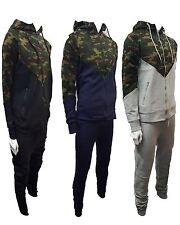Mens Contrast Camouflage Zip Tracksuit Sweat Top & Slim Fit Track Pants S-XXL