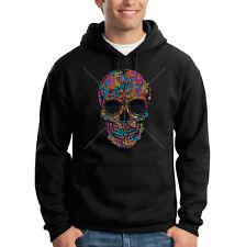 Floral Painted Colorful Sugar Skull Day Of Dead Flowers Hooded Sweatshirt Hoodie