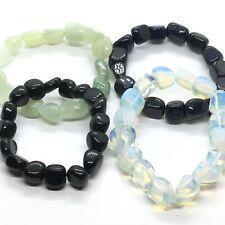 Crystal Tumblestone Bracelets Black Obsidian, Blue Goldstone, New Jade, Amethyst