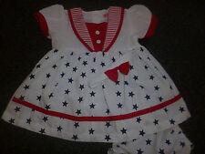 Gratis Envío Rojo Sailor * Estrellas * vestido, pantalones, hairband 6/12, 12/18,18 / 24 Meses
