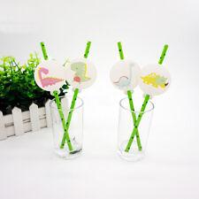 12pcs Dinosaur Theme Straws Party Supplies Decoration Biodegradable Paper Straw