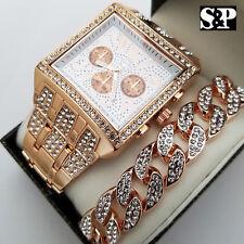 & Full Iced Cuban Bracelet Combo Set Men Hip Hop Rose Gold Plated Luxury Watch
