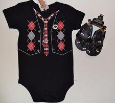 Spencer's Baby One Piece Argyle Skull Baby Bowtie BodySuit & Matching Flip Flops
