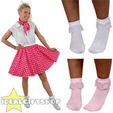 "PINK POLKA DOT SKIRT SCARF & BOBBY SOCKS 1950S ROCK N ROLL FANCY DRESS 17"" LONG"