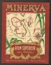 """BEAUCAIRE & BEZIERS (30 / 34) ETIQUETTE de RHUM MINERVA """"Ets. A. BRESSON"""""""