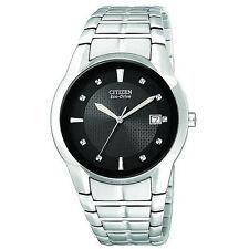 New Men's Citizen Eco-Drive Black Dial Stainless Steel BM6670-56E