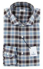 New $325 Barba Napoli Brown Plaid Shirt - Full - (DA2000R271U02T)