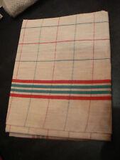 ancien torchon a carreaux rouge et vert toile metis