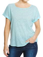 womens aqua/blue m&s plus size hip length short sleeve top/t-shirt