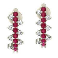 Thanksgiving Gift 18k White Gold Dangle Earrings Ruby Women's Jewelry OPS-18291
