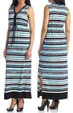 Jones New York Blue-Multi Stripe V-neck Stretch Jersey Drawstring Maxi Dress $99