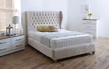Tara Wing Chesterfield Upholstered Bed Frame Chenille Linen or Velvet Bedstead