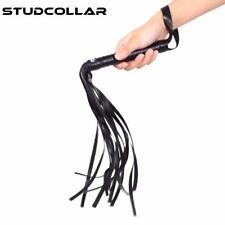 STUDCOLLAR-WHIP - Black or Red Leather Whip - Flirt Clap Slap Pat Flogger Lash