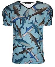 Uomo squali Vita marina acqua stampa scollo a v t-shirt top gotico punk emo S,M