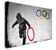 Banksy Anillas Olímpicos Thug LONA pared arte impresión. varios Tamaños