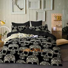 Single/Double/Queen/King Size Bed Quilt/Doona/Duvet Cover Set Black Golden Skull