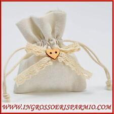 Sacchetti portaconfetti in juta panna con cuoricino confettate battesimo nozze