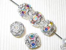 12 8mm Swarovski Rhinestone Beads Silver/Crystal AB