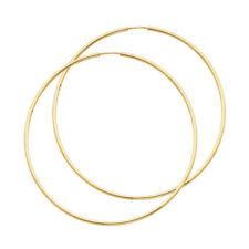 Real 14K Yellow Gold Classic Simple Plain Hoop Earrings 1.5 MM Kids Ladies Child
