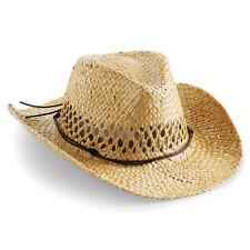 Beechfield Straw Cowboy Hat Handmade Wire Brim Mens Ladies Unisex (B735)
