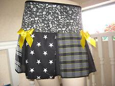 NEW Black Grey White Yellow Stars Tartan check Rock Party Retro Skirt-All sizes