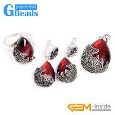 Red Glass Drop Antiqued Drop Tibeten Silver Ring Earrings Pendant Jewelry Set
