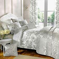 Malton Toile Floral Grey Print Duvet Cover Set, Cushion, Bedspread OR Curtains