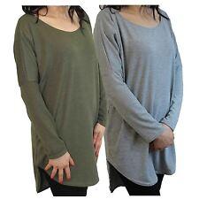 New Womens Long Sleeve Asymmetric Hem Tunic Top Baggy Dip Hem Knit Shirt 8-22