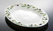 BASSANO große ovale Olivenplatte Ausgefallene italienische Keramik 45x34 Relief