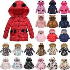 Kids Boys Girls Windproof Hooded Ear Coats Floral Jackets Winter Thermal Outwear