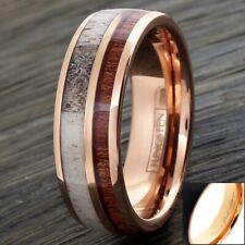 6/8mm Rose Gold Tungsten Wood & Deer Antler Wedding Band Ring-Engraving Avail.