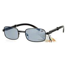 Unisex Vintage Designer Fashion Sunglasses Rectangular Wood Buff UV 400