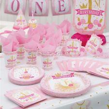 1st Primer Cumpleaños Niñas Rosa Y Dorado Fiesta Suministros Vajilla & Decoraciones