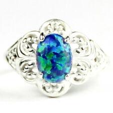 • SR125, Created Blue Green Opal, 925 Sterling Silver Ladies Ring -Handmade