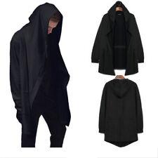 Mens Punk Cardigan Hooded Long Cloak Cape Coat Loose Casual Slim Jacket Hoodies