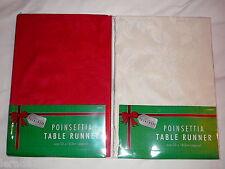 CHRISTMAS TABLE RUNNER RED OR CREAM DINNER PARTY 33 X 183CM POINSETTIA DESIGN