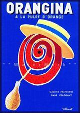 Orangina Swirl Face French Vintage Poster Print Orange Drink Kitchen Decor