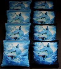 SHARK WEEK GREAT WHITE 8 ACA Regulation Cornhole Bean Bags OCEAN SHARK B323