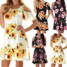 Hot Women Off Shoulder Short Sleeve Flower Print Casual Beach Loose Mini DressCA