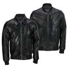 Mens Black Soft Real Leather Vintage Collar Bomber Style Biker Jacket All Sizes