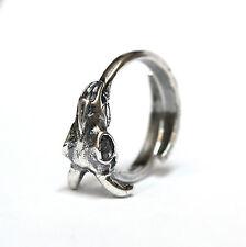 Unisex Silver Ram Skull Ring Adjustable Animal Goat Baphomet Satanic Head 424