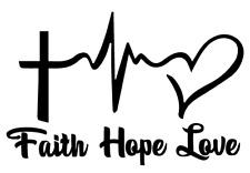 Faith Love Hope Heartbeat Car Wall Decorative Die Cut Vinyl Decal Stickers